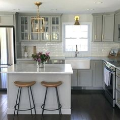 Image result for light gray kitchen cabinets