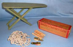 Vintage Doll Wood Folding Ironing Board & Dolly's Clothes Line in Box, Ruby Lane $45.00