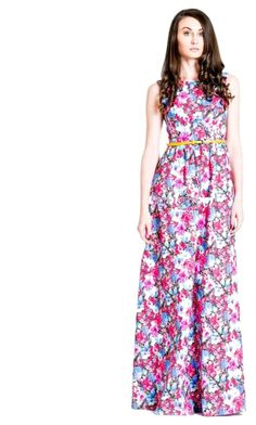 """Floral gown"" by laroleclothing on Polyvore featuring dress and larole"