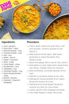Dahi Papad Ki Sabji - Rajasthan Special | Tasted Recipes Red Chili Powder, Clarified Butter, Garam Masala, Curry Recipes, Recipe Cards, Coriander, Ethnic Recipes, Food, Essen