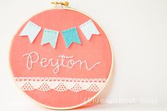 Children's Personalized Hoop Art - Felt and Embroidery Bunting and Lace Trim - Turquoise and Coral, $27
