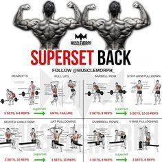 Want a BIGGER Back? Try this workout LIKE/SAVE IT if you found this useful. FOLLOW @musclemorph_ for more exercise & nutrition tips . WHAT'S A SUPERSET *A Superset is when you do two exercises back to back with no rest between them . TAG A GYM BUDDY . ✔️Enhance your progress with @musclemorph_ Supplements LINK in BIO ➡MuscleMorphSupps.com #MuscleMorph