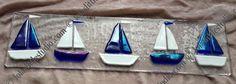 Lola's Little Glass Studio - Fused Glass Art Fused Glass Ornaments, Fused Glass Plates, Fused Glass Art, Mosaic Glass, Sea Glass Crafts, Stained Glass Crafts, Stained Glass Designs, Glass Boat, Stained Glass Night Lights