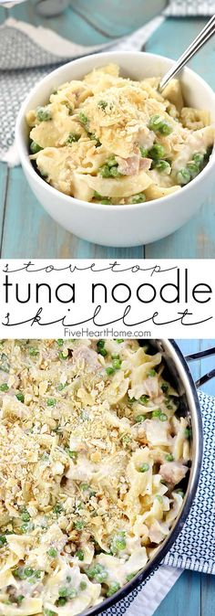 Stovetop Tuna Noodle Casserole Skillet a quick and easy comforting dinner recipe loaded with tuna egg noodles peas and a creamy cheesy fromscratch white sauce Egg Noodle Recipes, Tuna Recipes, Cooking Recipes, Pasta Recipes, Skillet Recipes, Skillet Food, Skillet Meals, Potato Recipes, Seafood
