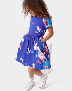 Jude Pool Blue Summer Rose Jersey Dress | Joules US