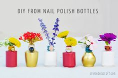 bud vases from nail polish bottles