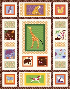 Fabric collection: Doodle Zoo by @Tina Bentley Fabrics Get the free quilt pattern here: http://www.allpeoplequilt.com/techniques/piecing/creative-panel-quilts_ss20.html
