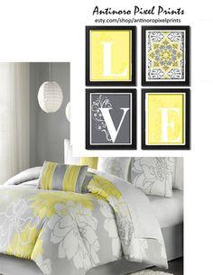 Home Decor Digital Love Lt. Yellow Greys White Wall Art Vintage / Modern Inspired -Set of 4 - Prints - (UNFRAMED) by antinoropixelprints on Etsy Art Vintage, Vintage Modern, Reproductions Murales, Bathroom Sink Design, Yellow Bathrooms, White Wall Art, Bedroom Art, Bedroom Ideas, White Tiles