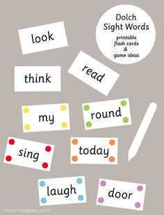 Dolch Sight Words Flash Cards - Mr Printables