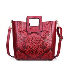 Women Embroidery PU Leather Tote Bag Date Crossbody Bag