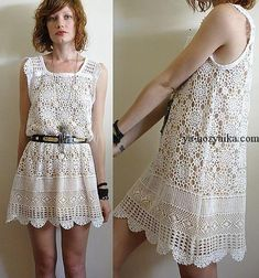 Платье из мотивов крючком. Легкая кружевная модель летнего платья. Дополнить платье можно поясом.