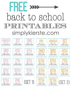 These Free Back to School Printables are SO cute, and there are two different sets, orange/grey and pink/grey! They both include all grades, and are perfect for the first day of school!