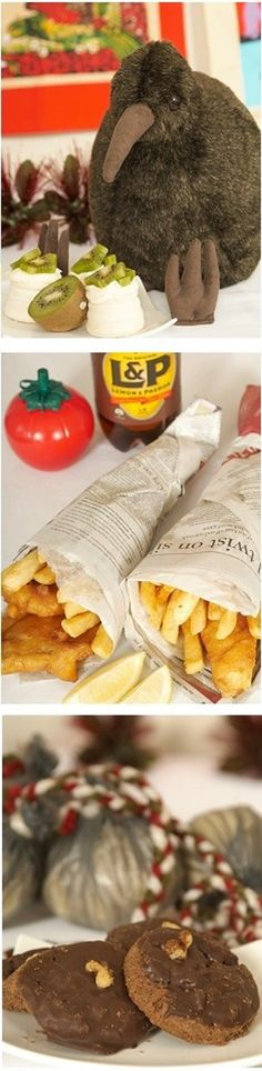 Cool ideas for a kiwiana party - Kiwi fruit and pav, Fish n chips and afagans - NZ
