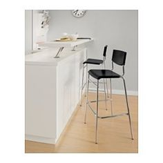"""STIG Bar stool with backrest, black, silver color - black/silver color - 29 """" - IKEA Ikea Bar, Modern Bar Stools, Modern Dining Chairs, Console, Ikea Family, Stools With Backs, Chaise Bar, Home Decor Kitchen, Interior Design Living Room"""