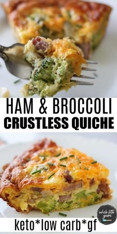 A healthy broccoli quiche with ham that's crustless! This easy low carb keto quiche recipe is filled with ham broccoli and cheese plus it's terrific hot or cold for breakfast lunch or dinner. Quiche Au Brocoli, Crustless Broccoli Quiche, Keto Quiche, Easy Quiche, Keto Lasagna, Low Carb Quiche, Lasagna Noodles, Low Carb Chicken Recipes, Healthy Dinner Recipes