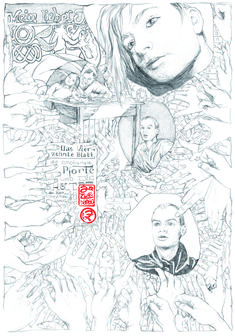 das Gemeinsame über den Tod hinaus 70 x 100 cm Bleistift 2009 Corona, Paper, Death, Sketches