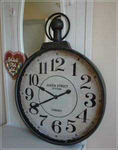 xxl vintage antike wanduhr topisa 80cm aus hochwertigem. Black Bedroom Furniture Sets. Home Design Ideas