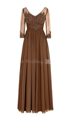 3/4 Sleeved V-neck Chiffon Gown With Illusion Sleeves
