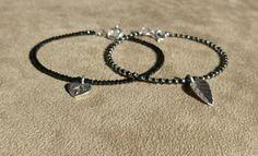 Black Spinel Bracelet, Gemstone Bracelet, Black Bracelet, Skinny Bracelet, Dainty Bracelet, Stacking Bracelet, Leaf Bracelet, Heart Bracelet by ThreeMagicGenies on Etsy
