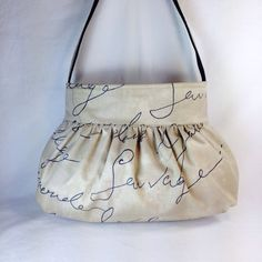 Gathered Bag / Purse  Parchment Fabric by MaDonz on Etsy