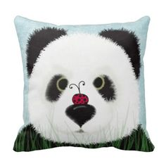 The Panda And His Visitor Throw Pillow.  $29.95 Created by #OneArtsyMomma