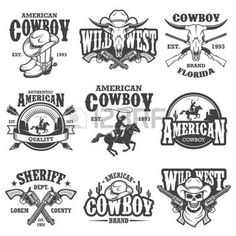 Buy Set of Vintage Lifestyle Emblems by VectorPot on GraphicRiver. Set of vintage lifestyle emblems, labels, badges, logos. Western Logo, Arte Equina, Logo Sport, Sports Logos, Wild West Theme, Vintage Graphic Design, Logo Vintage, Graphic Art, Vintage Silhouette