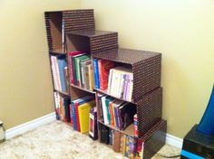 cardboard storage box shelving | ... clever ways to organize with cardboard boxes 1 cardboard box shelf