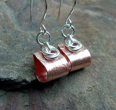 Small Mixed Metal Earrings Silver and Copper by TouchOfSilver, $19.00