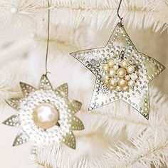 Sparkling Silver Star Ornaments
