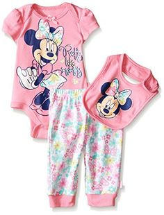 Disney Baby Girls' Minnie Mouse 3 Piece Soft Bodysuit, Light Pink, Months: This set is the perfect gift for any baby! packed with value and essentials that parents and babies will love. Contains 2 bodysuits and bib. Old Baby Clothes, Disney Baby Clothes, Storing Baby Clothes, Preemie Clothes, Baby Clothes Online, Baby Disney, Disney Girls, Minnie Mouse Baby Room, Newborn Girl Outfits