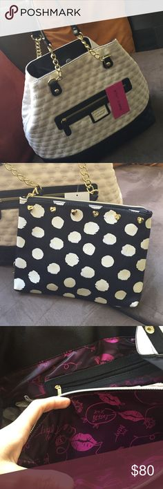 """Betsy Johnson shoulder bag NWT Gorgeous white & black chain strap bag. Has a smaller11""""x9"""" bag included. Big bag measures 17""""x 13""""x 8"""". Inside is a beautiful purple & black silky material. Betsey Johnson Bags Shoulder Bags"""