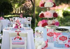 Tea party, perfect for Bridal showers. As a favor gift, you can make teacup candles (posted in my DIY board)