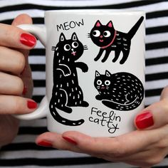 "Funny Mug For Cat Lovers ""Feelin Catty"""
