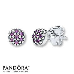Pandora Earrings Purple CZ Sterling Silver $45