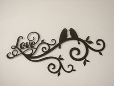 Love Bird Scroll 16 Gauge Metal Wall por Metalheadartdesign en Etsy