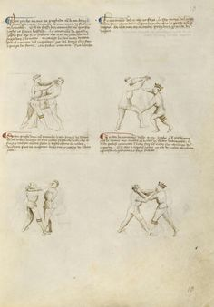 Unarmed Combat Artist/Maker(s): Fiore Furlan dei Liberi da Premariacco, author [Italian, about 1340/1350 - before 1450] Date: about 1410 Medium: Tempera colors, gold leaf, silver leaf, and ink on parchment Dimensions: Leaf: 27.9 x 20.6 cm (11 x 8 1/8 in.) Object Number: 83.MR.183.8 Department: Manuscripts