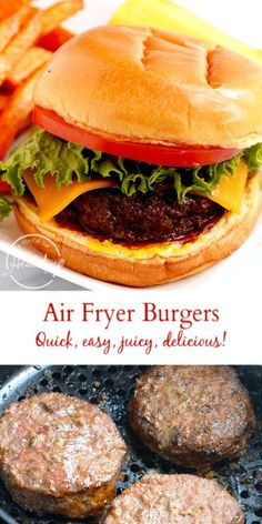 Air fryer hamburgers are so juicy delicious plus super quick and easy to make Ready in less than 30 minutes and no grill needed airfryer hamburgers Air Fryer Recipes Hamburger, Air Fryer Oven Recipes, Air Fryer Dinner Recipes, Grilling Recipes, Beef Recipes, Chilli Recipes, Ninja Recipes, Grilling Tips, Healthy Recipes