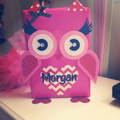 Owl valentine box from cereal box