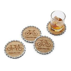 Enjoy the Ride Bike Chain Coaster Set - Fahrrad Bike Craft, Specialized Bikes, Bicycle Art, Bicycle Decor, Bicycle Parts Art, Recycled Bike Parts, Bicycle Design, Christmas Gift For Dad, Bicycle Maintenance