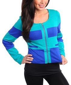 Take a look at this Jade & Royal Blue Jacket by Buy in America on #zulily today! Misses Clothing, That Look, Take That, Royal Blue Color, Fashion Forward, Jade, Zip Ups, Hooded Jacket, Scoop Neck