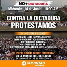 Cada día de lucha es un día que avanzamos hacía la libertad de VENEZUELA. Seguimos en las calles! . Mañana #14Jun tomamos nuevamente las calles para protestar en contra de esta dictadura ASESINA. . Contamos contigo! #ElQueSeCansaPierde