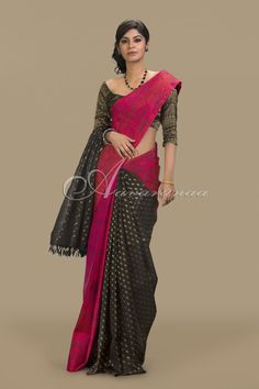 Pink and black partly pallu