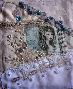 """I ❤ crazy quilting, beading & ribbon embroidery . . . 2014 CQJP` In many shades of white. I used one of my faeries on this one. I printed her on silk & made the colors almost """"not"""" so was perfect for this white block. I had to add some bling thread to her hair to go with the shimmer & shine of the whole block. ~By Annette, Annette's World"""