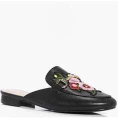 Boohoo Melissa Floral Embroidered Mule Loafer | Boohoo ($25) ❤ liked on Polyvore featuring shoes, loafers, loafer mule, loafer shoes, boohoo shoes, loafers moccasins and mule shoes