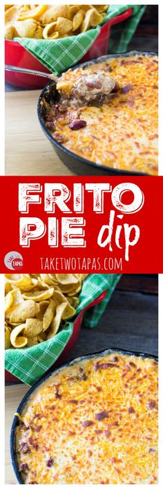 The classic Frito Pie dish containing corn chips, chili, and cheese is transformed into a dip you can scoop into your mouth with reckless abandon! Frito Pie Dip Recipe | Take Two Tapas