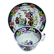 Rathbone Chinoiserie Cup & Saucer,Boy with Tray, Antique 19th C English