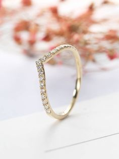 Items similar to Curved Wedding Band Chevron Dainty diamond ring Simple Micro pave Half Eternity Delicate Bridal Stacking Matching Women Anniversary Jewelry on Etsy Diamond Bands, Diamond Wedding Bands, Diamond Engagement Rings, Wedding Rings, Curved Wedding Band, Wedding Simple, Trendy Wedding, Couple Ring Design, Gold Finger Rings