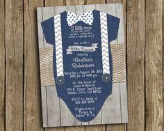 Boy Baby Shower Invitation Navy Blue Gray Bow Tie Suspender
