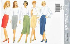 Butterick+Sewing+Pattern+4190+Misses+Size+18-20-22+Easy+Classic+Straight+Pencil+Skirt+Length+Options