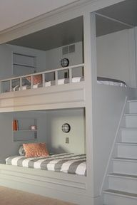 Style of bunk beds for boys bedroom. Reading lights on wall with individual switch, great idea. Would put the lights at the head of the bed instead though, to replace the shelves.